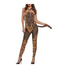 Rotita Open Back Semi Sheer Halloween Tiger Costume ($30) ❤ liked on Polyvore featuring costumes, yellow, white halloween costumes, white costume and yellow costume