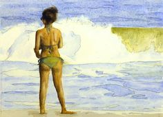 "This is an 8 inch by 10 inch watercolor by Richard, entitled ""Watching the Surf, Cape May""."