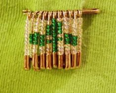 Beaded Safety Pin Craft for St. Patrick's Day - From Crafts For All Seasons