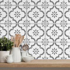 Kitchen Paint, Kitchen Backsplash, Backsplash Ideas, Kitchen Wall Tiles Design, Patterned Kitchen Tiles, Stencils Uk, Patio Slabs, Stenciled Floor, Wall And Floor Tiles