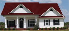 Best White With Red Metal Roof Home Exterior In 2019 Red 640 x 480
