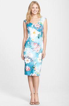 Maggy London Print Scuba Midi Dress (Regular & Petite) | Nordstrom