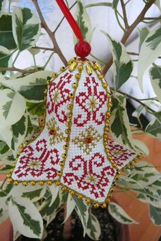"""Photo from album """"Ёлочные игрушки"""" on Yandex. Embroidered Christmas Ornaments, Christmas Towels, Cross Stitch Christmas Ornaments, Xmas Cross Stitch, Handmade Ornaments, Christmas Bells, Christmas Cross, Diy Christmas Ornaments, Cross Stitch Charts"""