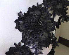 black lace appliques   Roses trim, black venice lace trim, black roses applique, rose large ...