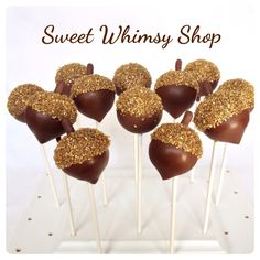 12 Acorn and Gold Sugar Crystal Cake Pops - for Woodland, Forest, Lumberjack, Squirrel, Nuts, Fall baby shower, Autumn wedding, party favor by SweetWhimsyShop on Etsy https://www.etsy.com/listing/114606174/12-acorn-and-gold-sugar-crystal-cake