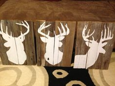 Deer decoration for Jason! Homemade with old fence boards.