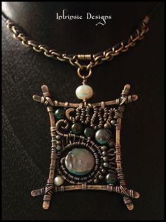 2015/08/12 Bronze, Pearls and Leather Pendant Choker -- Intrinsic Designs (Cathy Heery) - nice design.