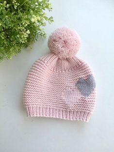 Knit hat with big pompom image 5 crochet pattern frazier the frog in furls whims merino dk yarn Knitted Hats Kids, Baby Hats Knitting, Baby Knitting Patterns, Hand Knitting, Knitted Baby Beanies, Diy Crafts Knitting, Knitting For Beginners, Wool Yarn, Knit Crochet