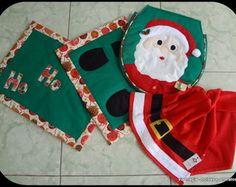 """Kit Banheiro """"Noel"""" (verde) - 4 peças"""