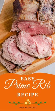 Preparing a prime rib is easier than you think! The prep is easy; the oven does all the work! A simple au jus recipe is served on the side! This is the perfect, memorable meal! For more beef recipe, visit lemonsforlulu.com