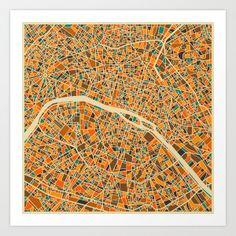 Paris, France Map by JazzberryBlue