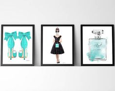 Fashion posters, Set of 3, Watercolor, Audrey, Perfume, shoes, Teal, Blue, Fashion decor, fashion illustration, books, girls, gift for, teen