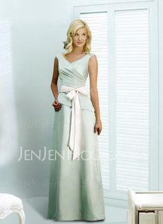 Bridesmaid Dresses - $97.99 - Nice A-Line/Princess V-neck Floor-Length Satin Bridesmaid Dress with Ruffle  Sash (007001060) http://jenjenhouse.com/pinterest-g1060