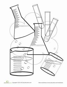 Science coloring pages are perfect for blossoming scientists. This science coloring page features beakers, test tubes, and vials for kids who love chemistry.
