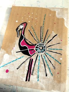 Flamingo Frenzy - flamingo with sea urchin - mixed media illustration on cardboard