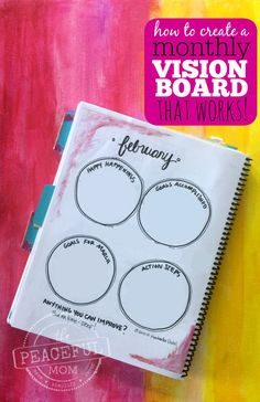 #Organize with a monthly vision board. Take a peek at mine and learn how to create a monthly vision board that works for you! -- from ThePeacefulMom.com