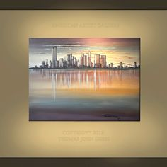 NEW YORK Pre 9 11 Twin Towers Skyline Large 30X40 Cityscape Original Fine Art Painting By Thomas John. $229.70, via Etsy.