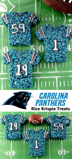These Carolina Panthers Rice Krispie Treats Team Jerseys are a fun football dessert for a game day football party, an NFL playoff party, a Super Bowl party or as a special snack for the Carolina Panthers fans in your life. Go Panthers! And follow us for more fun Super Bowl Food Ideas.