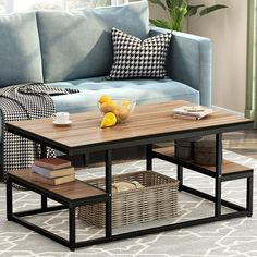 Tribesigns Modern Industrial Coffee Table, 48 inch Rectangular Cocktail Table with Open Storage Shelf for Living Room, Black Metal Frame (Dark Oak) Stylish Coffee Table, Coffee Table With Storage, Modern Coffee Tables, Modern Table, Welded Furniture, Steel Furniture, Table Shelves, Furniture Design, Room Decor