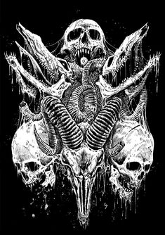 by Mark Riddick Dark Artwork, Skull Artwork, Dark Art Drawings, Metal Artwork, Arte Horror, Horror Art, Ink Illustrations, Illustration Art, Totenkopf Tattoos
