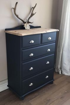 SOLD** Dark Grey Chest of Drawers, Upcycled Furniture, Graphite With Chrome Cup Handles - Chest of drawers Diy Furniture Table, Grey Furniture, Refurbished Furniture, Repurposed Furniture, Bedroom Furniture Makeover, Painting Pine Furniture, Copper Furniture, Furniture Design, Dresser Furniture