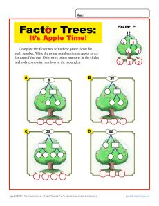 http://This fun factor worksheet features apple trees!