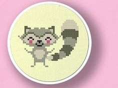 +This item is available for instant digital download*    A sweet raccoon counted cross stitch pattern! Use the cross-stitch pattern to personalize