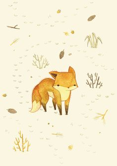 Lonely Winter Fox Art Print by Teagan White The cuteness, gaah! Art And Illustration, Art Fox, Art Mignon, Kunst Tattoos, Fox Print, Grafik Design, Art Design, Painting & Drawing, Fox Drawing