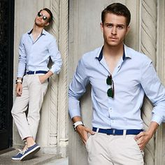 Shirtsimilar Here  >, Clubmaster, Men In Cities Braided Belt, Similar Here  > Chinos, Vans Surf Shoes - Nude blue  - Adam Gallagher