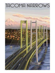 Tacoma, Washington - Narrows Bridge and Rainier