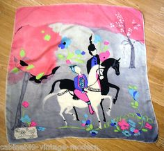 Vintage 1940s Maggy Rouff Paris French Designer Silk Scarf Horses Persian