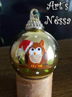 Art's Nêssa - Artesanato: Bola de natal dourada coruja