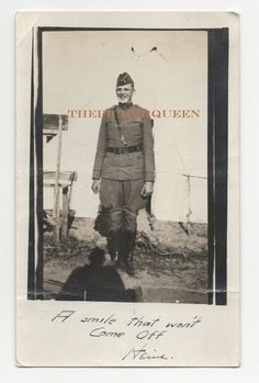 Antique Vintage Photograph~Male Soldier~Military~Uniform~Outside~Tent~Smiling