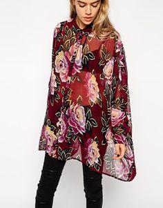 Enlarge ASOS Oversized Seam Detail Kimono Blouse In Dark Winter Floral