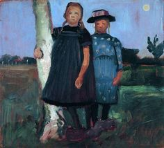 Two girls standing on the birch trunk, - Paula Modersohn-Becker Paula Modersohn Becker, Dresden, Paris, Female Painters, New Wave, Collage Art Mixed Media, Berlin, Girl Standing, Art Database