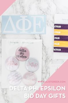 Create the perfect Bid Day gift pack for your Delta Phi Epsilon new members! Choose from three gift bag options: Newbie Love, Pref Present or Spoiled. Delta Phi Epsilon Gifts   Delta Phi Epsilon Bid Day   DPhiE New Member Gifts   DPhiE Rush Gift Bags   Delta Phi Epsilon Recruitment   Sorority Bid Day   Sorority Recruitment   Bid Day Bags   Sorority New Member Gift Ideas #BidDayGifts #SororityRecruitment Sorority Names, Sorority Bid Day, Sorority Recruitment, Sorority Gifts, Phi Sigma Sigma, Delta Phi Epsilon, Bid Day Gifts, Bid Day Themes, Custom Caps