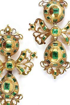 Rare Spanish Pendeloque Emerald Earrings, C. 1780