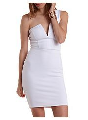 One Shoulder Plunging Bodycon Dress
