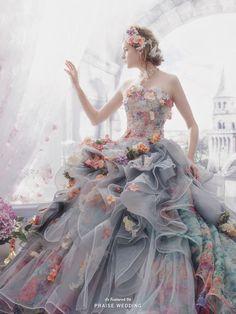 Dreamy Grey Wedding Dress For the Romantic Bride! Ball Dresses, Ball Gowns, Prom Dresses, Formal Dresses, Elegant Dresses, Fairytale Gown, Princess Fairytale, Princess Wedding, Fantasy Gowns