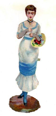 BEAUTIFUL LADY w/ FLOWER BASKET Die-Cut Litho Victorian Scrap
