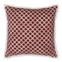 Threshold� Geometric Floral Pillow - Red