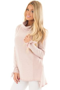 e63783a4829d Lime Lush Boutique - Blush Turtle Neck Top with Textured Contrast, $46.99  (https: