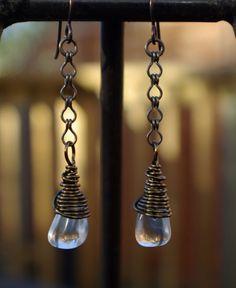 Rock crystal wire wrapped earrings niobium by BluePoppyBeads