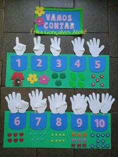 A that allows 3 types of counting. Preschool Learning Activities, Toddler Learning, Preschool Classroom, Preschool Activities, Kids Crafts, Preschool Crafts, Teaching Aids, School Decorations, Math For Kids