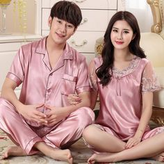 Summer autumn couples silk pajamas short-sleeved suit women silk pyjama set  men plus size 253b05981