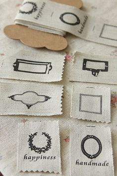 labels - DIY  Purchase ribbon and rubber stamp.. make labels for wool group
