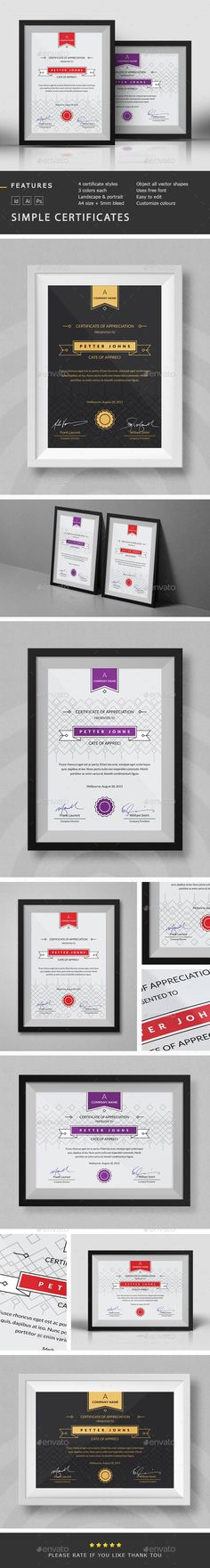 Simple Certificates Template PSD, InDesign INDD, Vector AI. Download here: http://graphicriver.net/item/simple-certificates-template/10221588?ref=ksioks