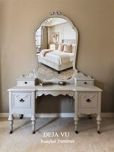 We bring life back to antique & vintage furniture by painting in neutral tones to make. Antique Bar, Antique Vanity, Refurbished Furniture, Vintage Furniture, French Country Coffee Table, Barrel Table, Vintage Dressers, French Provincial, Facebook