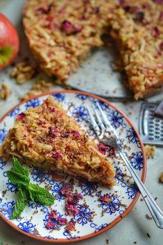 A slice of vegan no bake apple strudel
