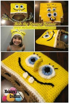 This Free Crochet pattern teaches you how to make a Sponge Bob Square Hat for a baby to adult size. We are want to say thanks if you like to share this post to another people via your. Bonnet Crochet, Crochet Baby Hats, Crochet Beanie, Crochet For Kids, Easy Crochet, Free Crochet, Beginner Crochet, Modern Crochet, Crochet Geek